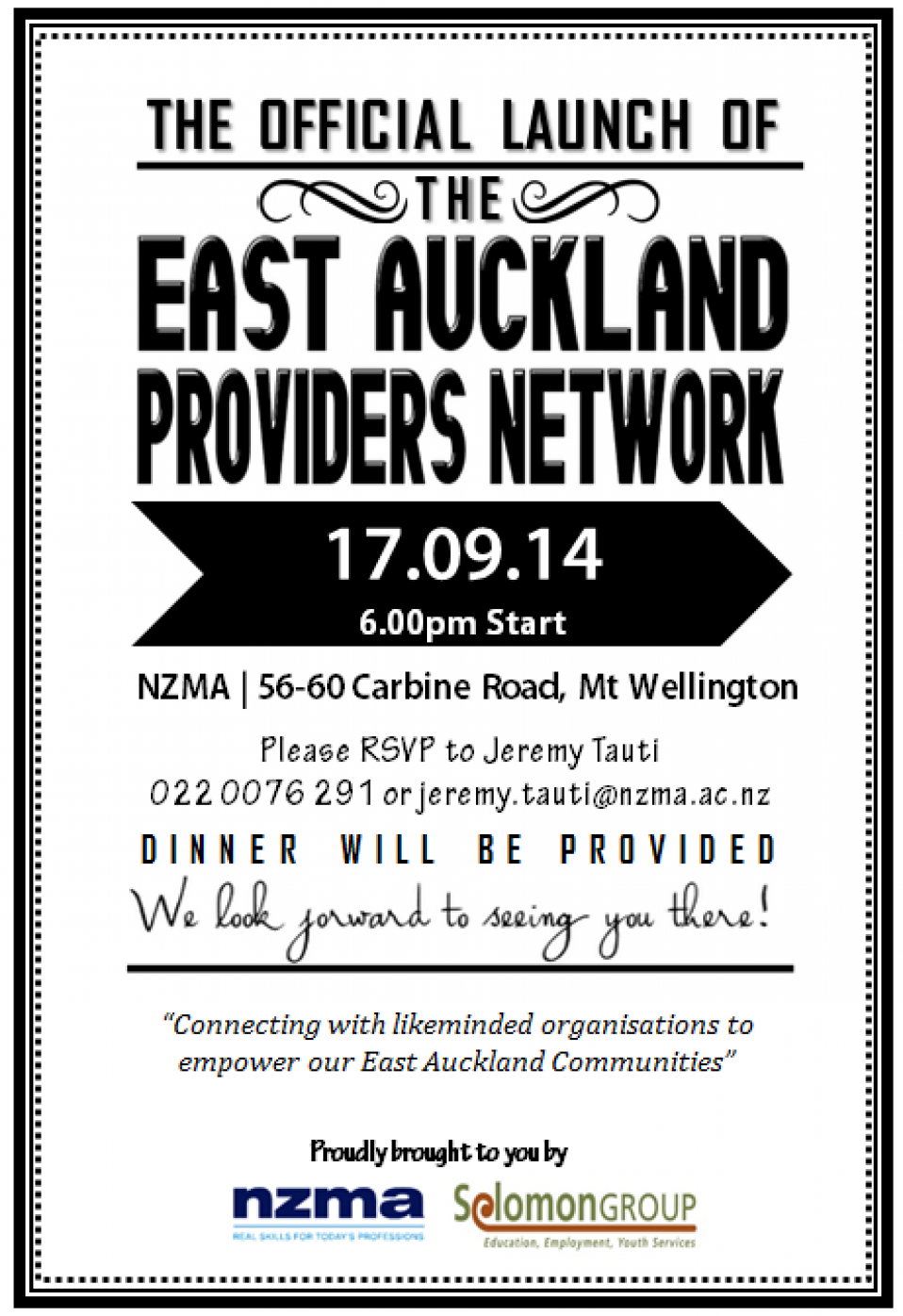 Launch of the EAST AUCKLAND PROVIDERS NETWORK